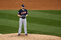 Cleveland Indians Corey Kluber (28) looks in for the sign in the third inning during Game 4 of the Major League Baseball World Series against the Chicago Cubs on October 29, 2016 at Wrigley Field in Chicago, Illinois.  (Mike Janes/Four Seam Images)