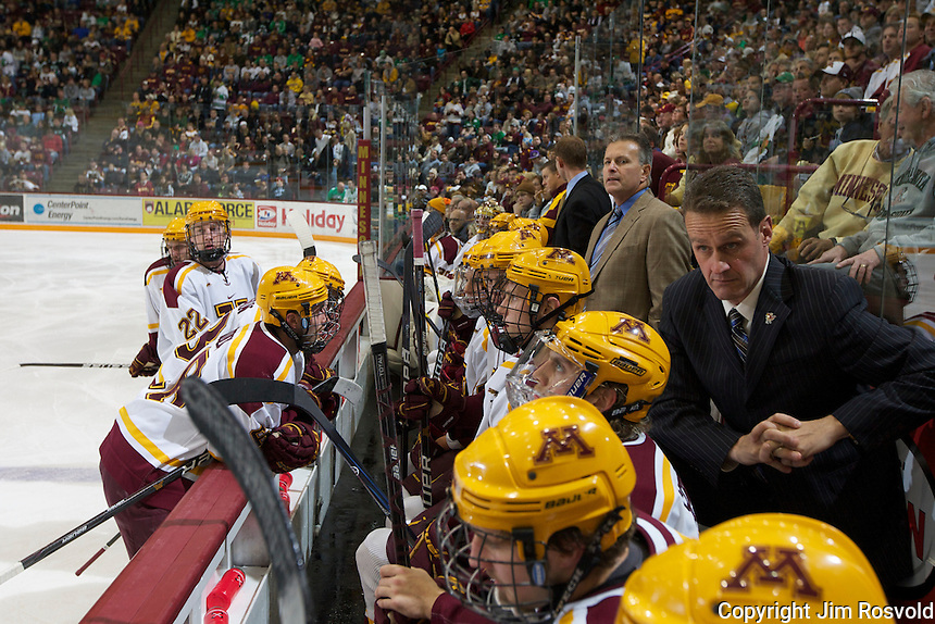 4 Nov 11: The University of Minnesota Golden Gophers host the University of North Dakota Fighting Sioux in a WCHA matchup at Mariucci Arena in Minneapolis, MN.