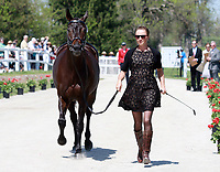 LEXINGTON, KY - April 26, 2017. #3 A Little Romance and rider Jessica Phoenix from Canada at the Rolex Three Day Event First Horse Inspection at the Kentucky Horse Park.  Lexington, Kentucky. (Photo by Candice Chavez/Eclipse Sportswire/Getty Images)
