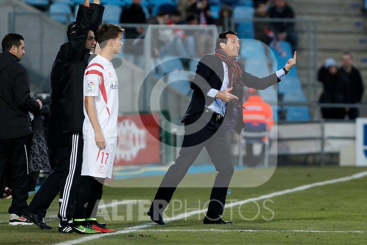 Sevilla´s coach Unai Emery during 2014-15 La Liga match at Alfonso Perez Coliseum stadium in Getafe, Spain. February 08, 2015. (ALTERPHOTOS/Victor Blanco)