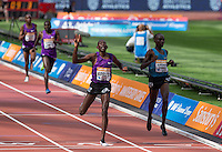 Winner Conseslus KIPRUTO with 2nd placed Jails Kipchoge BIRECH of Kenya (3000m Steeplechase) during the Sainsbury's Anniversary Games, Athletics event at the Olympic Park, London, England on 25 July 2015. Photo by Andy Rowland.