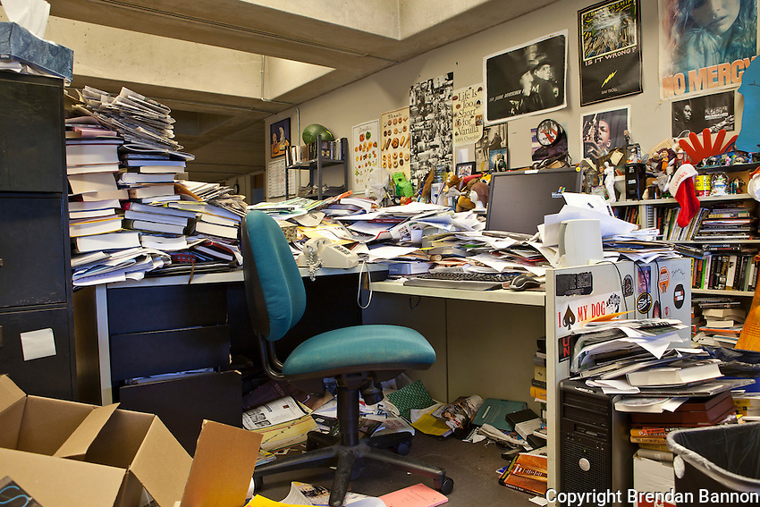 Buffalo News film and music critic Jeff Simon's desk. The newpaper has a club band of reporters named after the critics desk. The Buffalo News was the first newspaper owned by Warren Buffett. Mr. Buffett announced the purchase of 63 newspapers in May of 2012. Photo: Brendan Bannon, Buffalo, NY, June 8, 2012.
