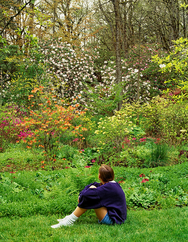 Young girl sitting at Hendricks Park, Eugene, Oregon.