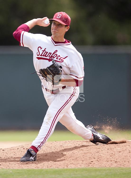 STANFORD, CA - May 8, 2011: Jordan Pries of Stanford baseball pitches during Stanford's game against Washington at Sunken Diamond. Stanford won 7-2.