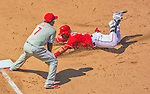 24 May 2015: Washington Nationals infielder Yunel Escobar slides safely into third during a game against the Philadelphia Phillies at Nationals Park in Washington, DC. The Nationals defeated the Phillies 4-1 to take the rubber game of their 3-game weekend series. Mandatory Credit: Ed Wolfstein Photo *** RAW (NEF) Image File Available ***