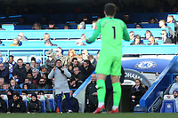 Chelsea Assistant Manager, Gianfranco Zola sends a message to Chelsea goalkeeper, Kepa Arrizabalaga, but thankfully it wasn't to be substituted during Chelsea vs Wolverhampton Wanderers, Premier League Football at Stamford Bridge on 10th March 2019