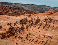 Erosion has produced abstract lines, curves and swales in Southern Utah