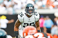 October 09, 2011:   Jacksonville Jaguars free safety Dawan Landry (26) looks over the play during the action between the Jacksonville Jaguars and the Cincinnati Bengals played at EverBank Field in Jacksonville, Florida.  ........