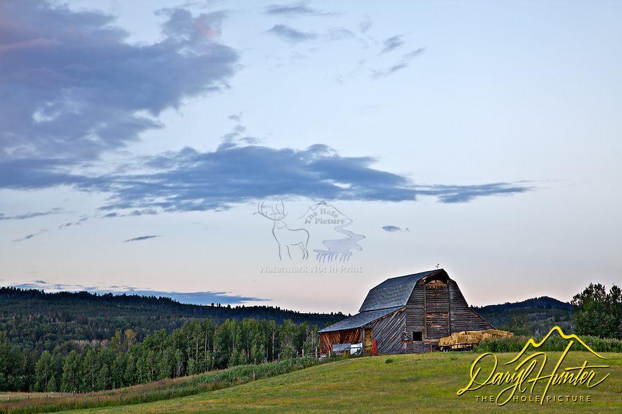 Sunrise over barn in Victor Idaho