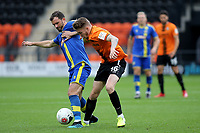 Barnet's Harry Taylor tackles Gavin Gunning of Solihull Moors during Barnet vs Solihull Moors, Vanarama National League Football at the Hive Stadium on 28th September 2019