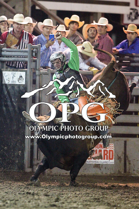 20 Aug 2014: Reid Barker was not able to score in the finals of the Seminole Hard Rock Extreme Bulls competition at the Kitsap County Stampede in Bremerton, Washington.