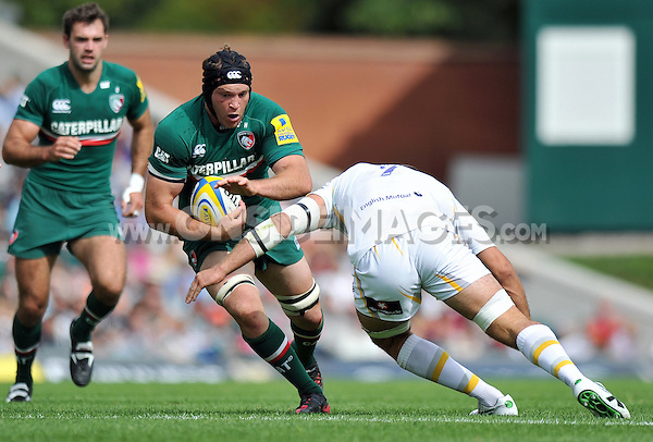 Julian Salvi in possession. Aviva Premiership match, between Leicester Tigers and Worcester Warriors on September 8, 2013 at Welford Road in Leicester, England. Photo by: Patrick Khachfe / JMP