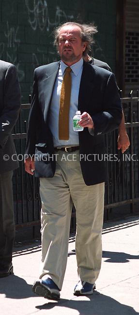 "Jack Nicholson on a set of ""Anger Management"" in Green Point, Brooklyn. New York, July 5, 2002. Please byline: Alecsey Boldeskul/NY Photo Press.   ..*PAY-PER-USE*      ....NY Photo Press:  ..phone (646) 267-6913;   ..e-mail: info@nyphotopress.com"