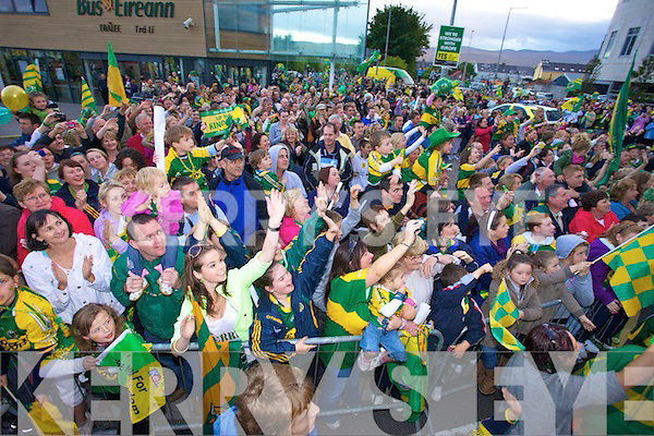 Kerry fans welcome home the Kerry team All Ireland champions tat Tralee Train station on Monday evening.