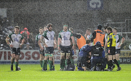 01.01.2016. RDS Arena, Dublin, Ireland. Guinness Pro 12 Leinster versus Connacht. The Connacht team waiting on the re-start.