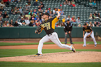 Adam Wilk (29) starting pitcher of the Salt Lake Bees delivers a pitch to the plate against the Oklahoma City Dodgers in Pacific Coast League action at Smith's Ballpark on May 25, 2015 in Salt Lake City, Utah.  (Stephen Smith/Four Seam Images)