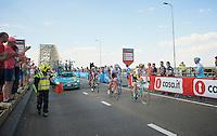 1 of the escapees of the day Maarten Tjallingii (NLD/LottoNL-Jumbo) entering the last kilometer in the company of Fabian Cancellara (SUI/Trek-Segafredo)<br /> <br /> stage 2: Arnhem-Nijmegen (NLD) 190km<br /> 99th Giro d'Italia 2016