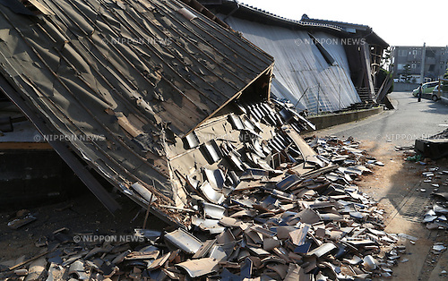 Kumamoto, Japan - April 15 : A house was broken by Kumamoto Earthquake last night at Mashiki-machi, Kumamoto, Japan. The photograph was taken on April 15th, 2016. (Photo by Chiaki Kodama/AFLO)