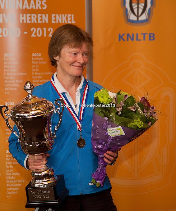 2013,August 24,Netherlands, Amstelveen,  TV de Kegel, Tennis, NVK 2013, National Veterans Tennis Championships,   Nore Blom<br /> Photo: Henk Koster