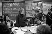 Linda Bear, Kay McNicholas, Carl Drayton, Jill Selbourne and Rosa Jones at a meeting called to resist closure of the 510 Centre; 22/11/78.