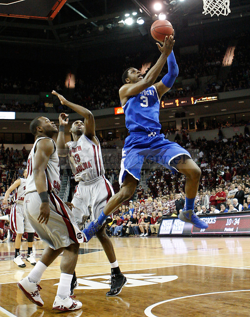 UK forward Terrence Jones drives to the hoop during the first half of the University of Kentucky Men's basketball game against University of South Carolina on 2/4/12 in Columbia, SC. Photo by Quianna Lige | Staff