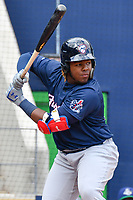 Vladimir Guerrero Jr. (27) of the New Hampshire Fisher Cats bats during a game against the Hartford Yard Goats at Dunkin Donuts Park on April 8, 2018 in Hartford, Connecticut.<br /> (Gregory Vasil/Four Seam Images)