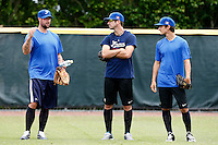 19 September 2012: Team France pitching coach Eric Gagne talks to pitchers Pierrick Le Mestre and Eloi Secleppe prior to Team France friendly game against Palm Beach State College, during the 2012 World Baseball Classic Qualifier round, in Lake Worth, Florida, USA.