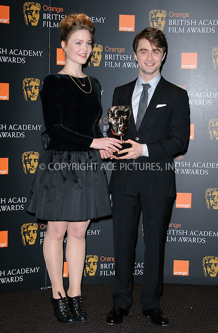 WWW.ACEPIXS.COM . . . . .  ..... . . . . US SALES ONLY . . . . .....January 17 2012, London....Holliday Grainger and Daniel Radcliffe at the Orange British Academy Film Awards nominations announcement on January 17 2012 in London ....Please byline: FAMOUS-ACE PICTURES... . . . .  ....Ace Pictures, Inc:  ..Tel: (212) 243-8787..e-mail: info@acepixs.com..web: http://www.acepixs.com