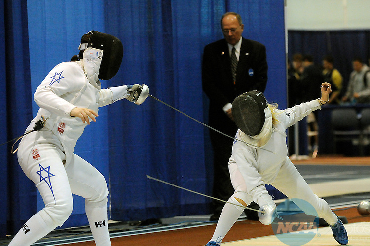22 MARCH 2009: Noam Mills of Harvard University makes a move  against Anastasia Ferdman of The Pennsylvania State University during the Division I Women's Fencing Championship in the weapon of Epee held at the Multi-Sport Facility on the Penn State University campus in University Park, PA. Ferdman defeated Mills for a 15-9 victory.  Steve Manuel/NCAA Photos