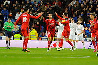 Real Madrid´s Toni Kroos and Sevilla's Vicente Iborra, Aleix Vidal during 2014-15 La Liga match between Real Madrid and Sevilla at Santiago Bernabeu stadium in Alcorcon, Madrid, Spain. February 04, 2015. (ALTERPHOTOS/Luis Fernandez) /NORTEphoto.com