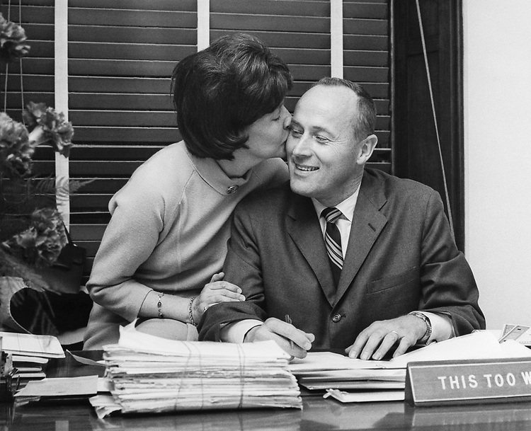 Rep. G. William Whitehurst, R-Va., and wife, on his 1st day in office. (Photo by Mickey Senko/CQ Roll Call)