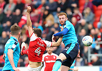 Cian Bolger of Fleetwood Town and Will Vaulks of Rotherham United during the Sky Bet League 1 match between Rotherham United and Fleetwood Town at the New York Stadium, Rotherham, England on 7 April 2018. Photo by Leila Coker.