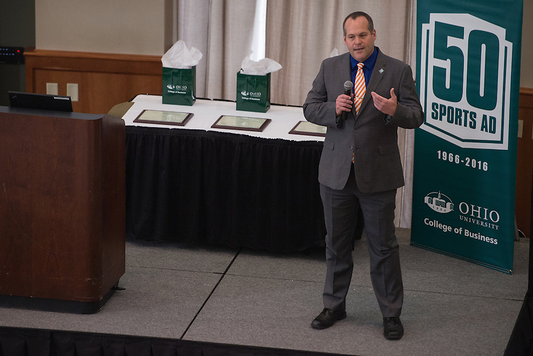 John Nadau, Facutly for Sports, opens the Darren Butler Sports Forum hosted by the Ohio University College of Business in Walter Rotunda on Friday, October 14, 2016.