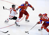 Thomas Hickey (Canada - 4), Nikita Klyukin (Russia - 21), Dmitri Klopov (Russia - 9) - Canada defeated Russia 6-5 on Saturday, January 3, 2009, at Scotiabank Place in Kanata (Ottawa), Ontario during the 2009 World Junior Championship.