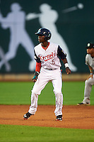 Cedar Rapids Kernels shortstop Nick Gordon (5) leads off second during a game against the Kane County Cougars on August 18, 2015 at Perfect Game Field in Cedar Rapids, Iowa.  Kane County defeated Cedar Rapids 1-0.  (Mike Janes/Four Seam Images)