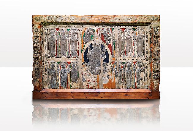 Absis d'esterri de Cardos a Romanesque painted altar front from the church of Saint Pau d'esterri de Cardos, Spain, Metal reliefs of Christ Pantocrator surrounded by the 12 Apostles.  National Art Museum of Catalonia, Barcelona 1919-23. Ref: MNAC 15970.