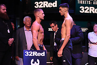 Scott James (L) and Hamzah Sheeraz during a Weigh In at the BT Studios, Queen Elizabeth Olympic Park on 12th July 2019