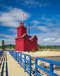 Allegan County, MI:  Holland Harbor lighthouse on channel between Lake Michigan and Lake Macatawa