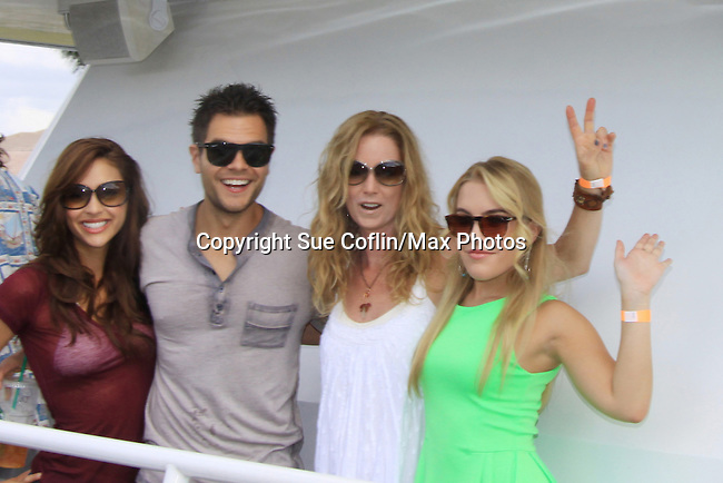 "General Hospital Lindsey Morgan ""Cristina Corinthos-Davis"", Erik Valdez and Kristen Alderson with OLTL Susan Halkell at SoapFest's Celebrity Weekend - Cruisin' and Schmoozin' on the Marco Island Princess - mix and mingle and watching dolphins - autographs, photos, live auction raising money for kids on November 11, 2012 Marco Island, Florida. (Photo by Sue Coflin/Max Photos)"