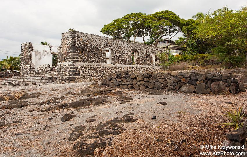 Ruins of the old Helani Church amidst the Ohi'amukumuku Heiau in Kailua-Kona, Big Island