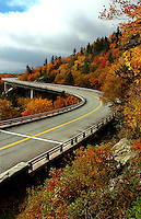The Linn Cove Viaduct at mile marker 304.6 on the Blue Ridge Parkway at Grandfather Mountain is the most complicated concrete bridge ever built.