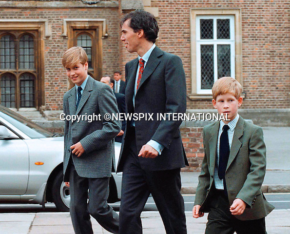 PRINCE HARRY_30 years on<br /> Prince Harry celebrates his 30th birthday on the 15th of September 2014<br /> <br /> PRINCE WILLIAM<br /> with  brother PRINCE HARRY and House Master Dr.Andrew Gailey,at the start of his studies at Eton College,Windsor.<br /> Mandatory Photo Credit: &copy;Dias/NEWSPIX INTERNATIONAL<br /> <br /> Mandatory credit photo:NEWSPIX INTERNATIONAL(Failure to credit will incur a surcharge of 100% of reproduction fees)<br /> <br /> **ALL FEES PAYABLE TO: &quot;NEWSPIX INTERNATIONAL&quot;**<br /> <br /> Newspix International, 31 Chinnery Hill, Bishop's Stortford, ENGLAND CM23 3PS<br /> Tel:+441279 324672<br /> Fax: +441279656877<br /> Mobile:  07775681153<br /> e-mail: info@newspixinternational.co.uk