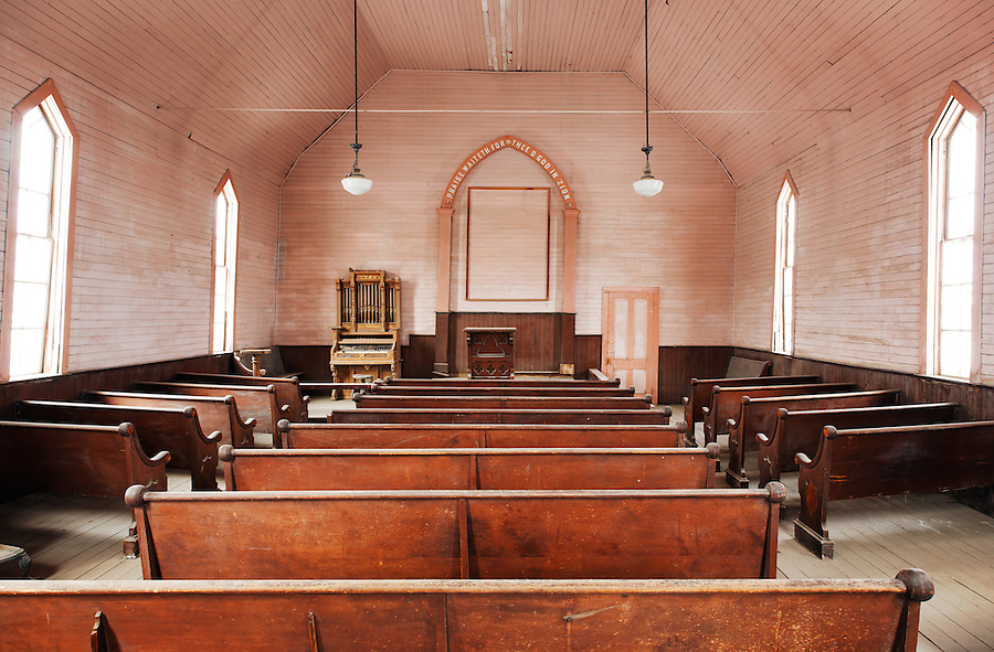 Interior of Methodist Church, Bodie State Historic Park, California, USA