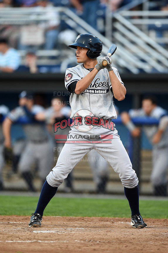 Staten Island Yankees second baseman Ty McFarland (14) at bat during a game against the Batavia Muckdogs on August 6, 2014 at Dwyer Stadium in Batavia, New York.  Batavia defeated Staten Island 5-3.  (Mike Janes/Four Seam Images)