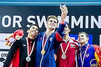 Podium<br /> ANDREW Michael USA Gold Medal<br /> ACEVEDO Javier CAN Silver Medal<br /> SAMY Mohamed EGY and MOLINA Robinson VEN Bronze Medal<br /> 50 Backstroke Men Final <br /> Day04 28/08/2015 - OCBC Aquatic Center<br /> V FINA World Junior Swimming Championships<br /> Singapore SIN  Aug. 25-30 2015 <br /> Photo A.Masini/Deepbluemedia/Insidefoto