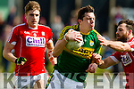 David Moran Kerry in action against Eoin Cadogan Cork in the National Football league in Austin Stack Park, Tralee on Sunday.