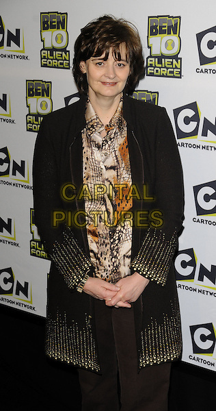 "CHERIE BLAIR.The ""Ben 10: Alien Force"" VIP premiere, Old Billingsgate Market, Old Billingsgate Walk, London, England..February 15th, 2009.half length brown coat jacket pattern 3/4 white orange blouse .CAP/CAN.©Can Nguyen/Capital Pictures."