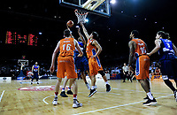 Mika Vukona lays a shot up during the national basketball league semifinal match between Nelson Giants and Southland Sharks at TSB Bank Arena in Wellington, New Zealand on Saturday, 4 August 2018. Photo: Dave Lintott / lintottphoto.co.nz