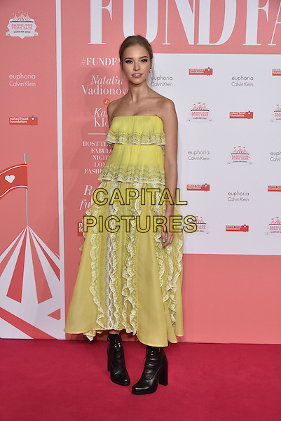 Sasha Luss<br /> arrivals at London's Fabulous Fund Fair 2016 in aid of the Naked Heart Foundation at Old Billingsgate Market on 20th February 2016.<br /> CAP/PL<br /> &copy;Phil Loftus/Capital Pictures