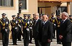 Palestinian Prime Minister Rami Al-Hamdallah and head of Hamas-run security forces in Gaza Tawfiq Abu Naeem review the honor guard as Al-Hamdallah visits the Hamas-run Ministry of Interior in Gaza City December 7, 2017. Photo by Ashraf Amra